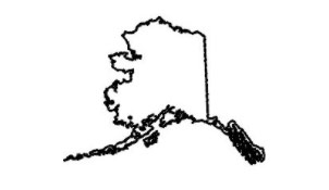state of alaska black outline with white background